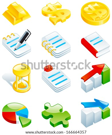 Set of color computer icons. Computer icons for web design - gold bars, dollar sign, coins, note, book, hourglass, charts, puzzle.  - stock photo