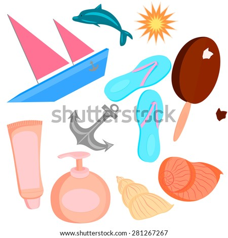 Set of color illustrations on the theme of summer with beach accessories.  illustration - stock photo