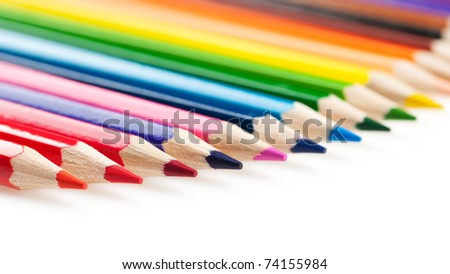 Set of color pencils. It is isolated on a white background - stock photo