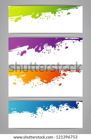 Set of color stickers with splash - stock photo