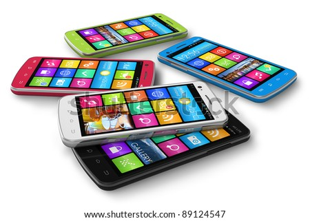 Set of color touchscreen smartphones isolated on white background - stock photo