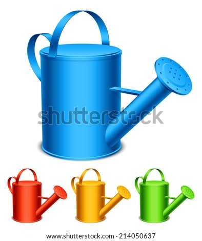 Set of 4 color watering cans. - stock photo