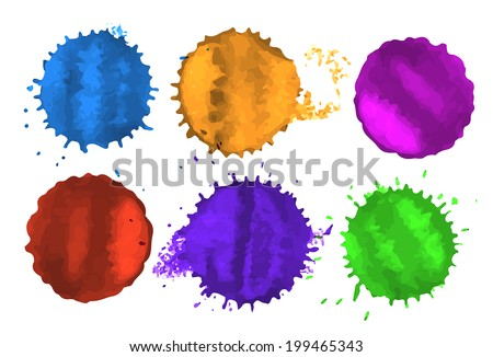 set of colored blots and spots on white background - stock photo