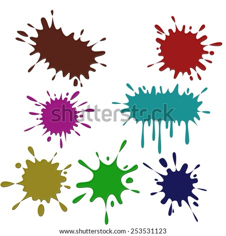 Set of colored blots on the white background - stock photo