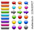 Set of colored buttons in the shapes of rounded rectangle, circle, star, arrow and bubble speech - stock photo