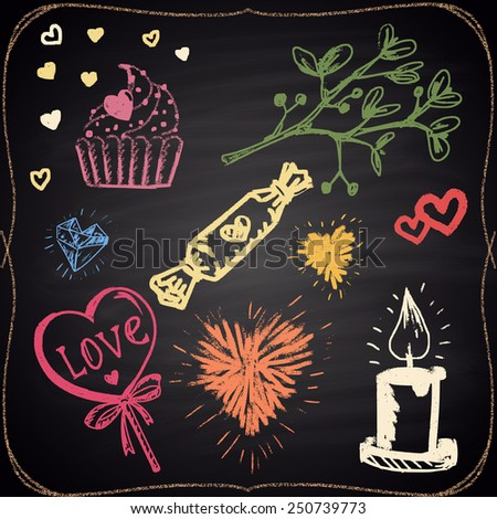 Set of colored chalk painted elements: hearts, candle, candies and plant. - stock photo