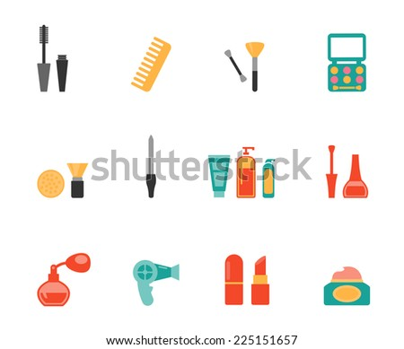 Set of colored hairstyling and makeup flat icons showing mascara  comb  hairdryer  perfume  lipstick  nail varnish  containers  brushes  compact  eye-shadow and blusher - stock photo