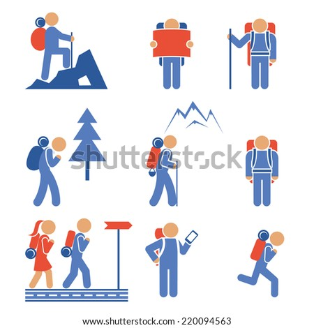 Set of colored hiking icons showing a mountaineer  backpacker  hiker  nordic walker  forest  mountain  frontal and side views - stock photo