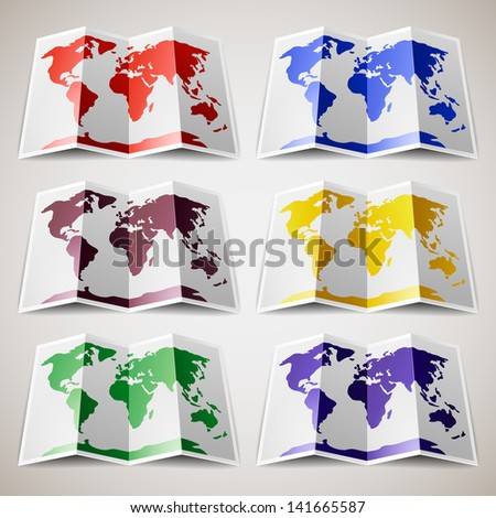Set of colored Maps of the World. Vector version (eps) also available in gallery - stock photo