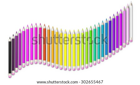 Set of colored pencil. Pencils are aligned following a wave and sorted using rainbow colors. - stock photo