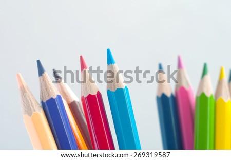 set of colored pencils closeup - stock photo