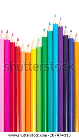 set of colored pencils on a white background - stock photo