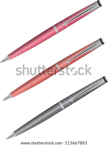 Set of colored pens isolated on white background - stock photo