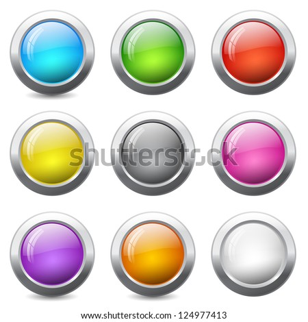 Set of colored round buttons with wavy reflections - stock photo