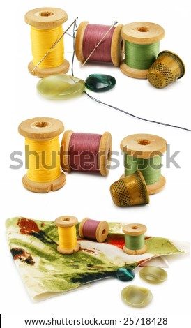 Set of colored threads, thimbles and needles isolated on a white background - stock photo