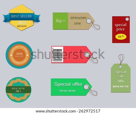 Set of colorful and promotion labels. - stock photo