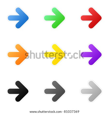 Set of colorful arrows - stock photo