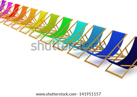 Set of colorful beach chairs - stock photo