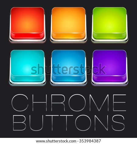 Set of Colorful Chrome Buttons - stock photo
