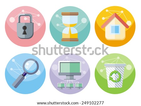 Set of colorful circle user interface icons for mobile and web applications isolated on white background. Raster version - stock photo