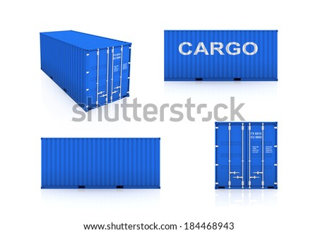 Set of colorful containers.Isolated on white.3d rendered. - stock photo