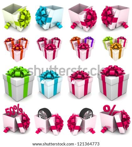 Set of colorful 3d gift boxes with colorful ribbons. Isolated 3D image - stock photo