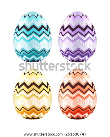 Set of colorful Easter eggs decorated with zigzag pattern. Realistic illustration. Blue, purple, yellow and orange. - stock photo