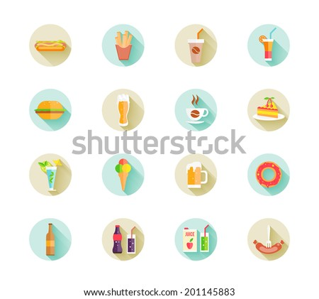 Set of colorful fast food icons on web buttons with various beverages and food including hamburger  sausage  cake  hotdog  French fries  doughnut and ice cream  illustration - stock photo