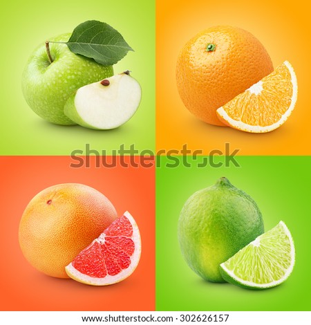 Set of colorful fruits - apple, orange, grapefruit, lime. Healthy food background - stock photo