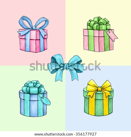 Set of colorful gift boxes with bows and ribbons on color background. Watercolor lovely illustration. Handwork - stock photo