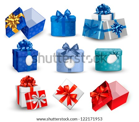 Set of colorful gift boxes with bows and ribbons. Raster version of vector. - stock photo