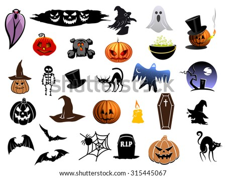 Set of colorful Halloween icons with lanterns, bats, ghosts, cat, witch, spiders, coffin and tombstones - stock photo