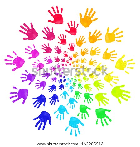 Set of colorful hand prints isolated on white - stock photo