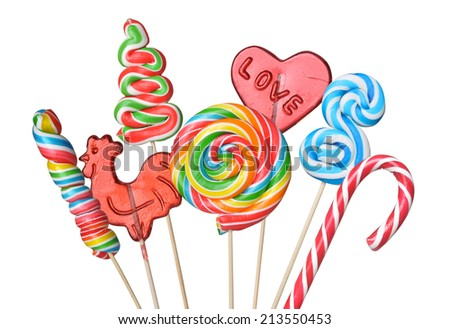 set of colorful lollipops isolated on white background - stock photo