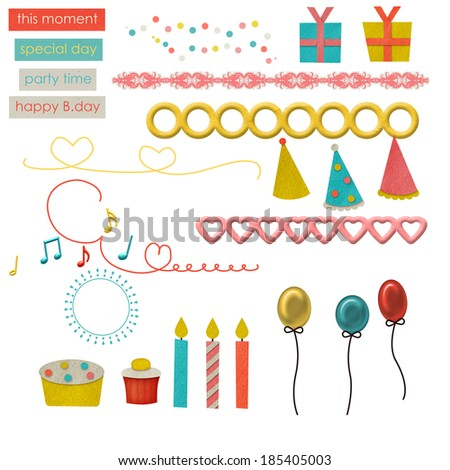 set of colorful party items - stock photo
