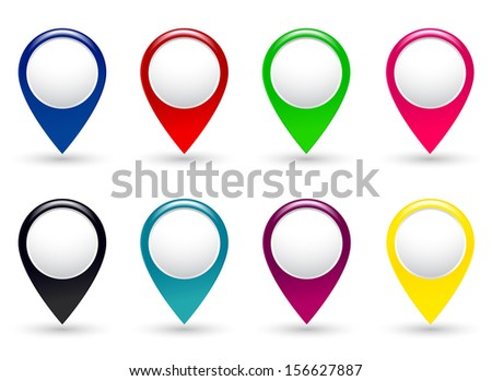 set of colorful pointers on white background with shadow - stock photo