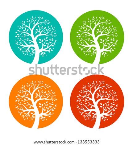 Set of Colorful Season Tree icons, raster illustration - stock photo