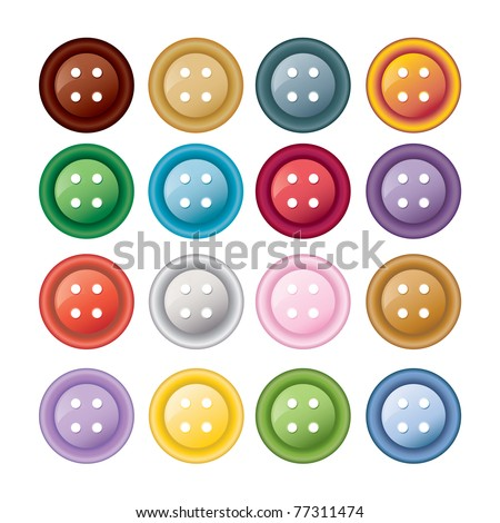 Set of colorful sewing buttons - raster version of vector ID 77220529 - stock photo