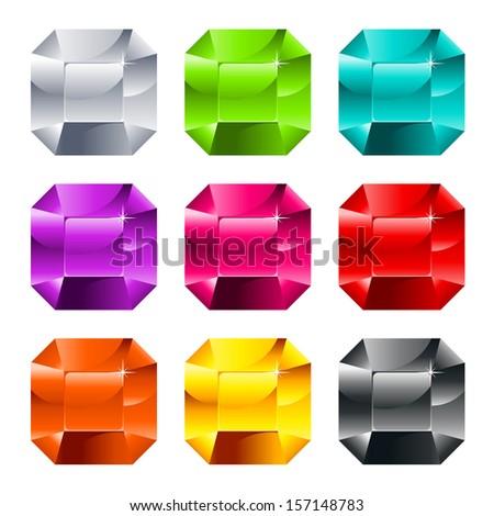 Set of colorful shiny jewels isolated on white - stock photo