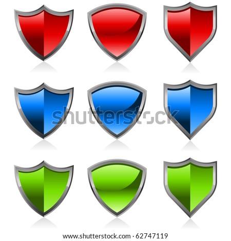Set of colorful shiny shields. - stock photo