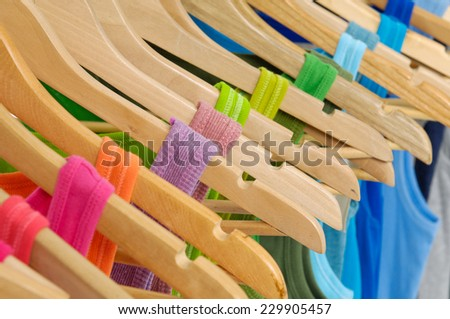 Set of colorful shirt rack  - stock photo