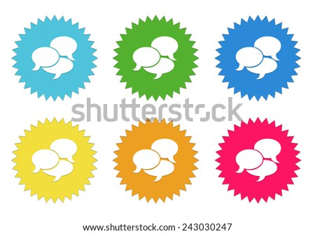 Set of colorful stickers icons with bubble speeches symbol in blue, green, yellow, red and orange colors - stock photo