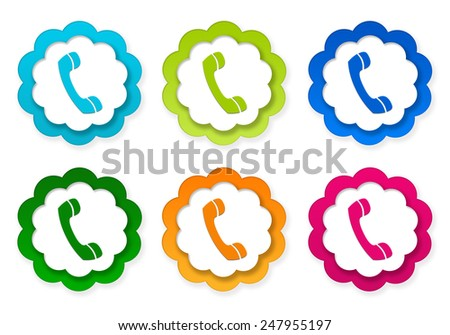 Set of colorful stickers icons with phone symbol in blue, green, pink and orange colors - stock photo