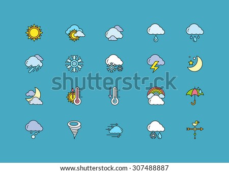 Set of colorful weather thin, lines, outline, strokes icons. Symbols weather snow, rainbow, rain, heat, sunny, cloudy, wind on dark-blue background. For web and mobile applications. Raster version - stock photo