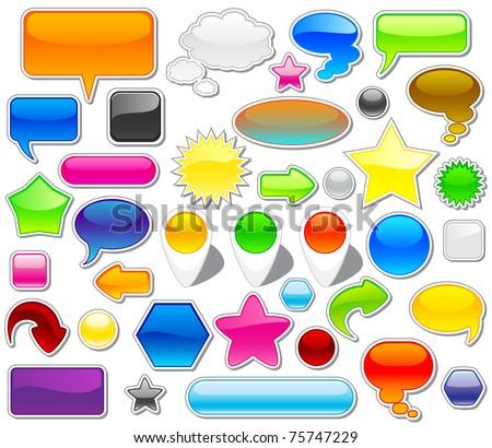 Set of colorful web elements, illustration - stock photo
