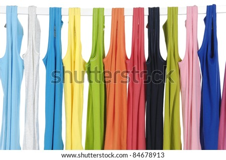 Set of colors of rainbow. Variety of casual peignoir - stock photo