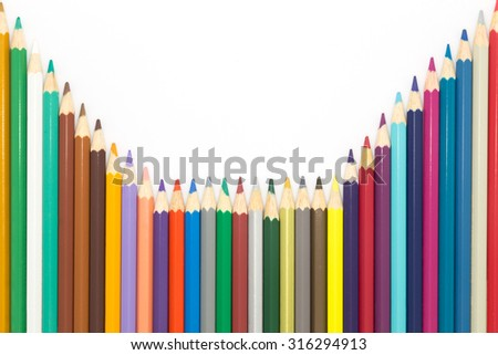 Set of colors wooden pencil on white background - stock photo