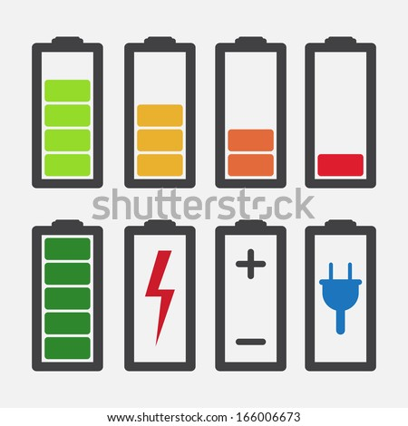 set of colourful battery charge level indicators isolated raster illustration stock photo. Black Bedroom Furniture Sets. Home Design Ideas