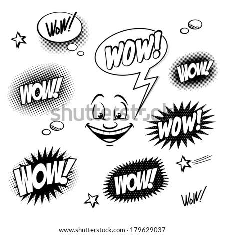 Set of comic book wow for your design - stock photo