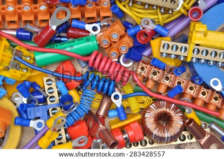 Set of components to used in electrical installation - stock photo